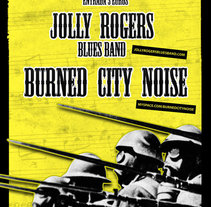 Cartel concierto Jolly Rogers Blues Band + Burned City Noise. A Design, Advertising, Music, and Audio project by Marc Perelló         - 18.11.2010