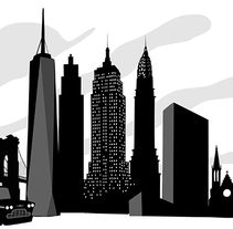 Black and white City Skylines. A Illustration project by Dues Creatius  - 17-03-2014