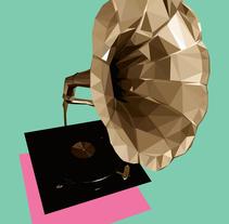 Gramófono lowpolly. Um projeto de Ilustração de Fco Javier Roman Martinez         - 08.05.2014