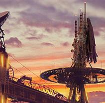 Concepto artístico de una panorámica de puerto espacio.. Un proyecto de Diseño de juegos e Ilustración de Daniel Hernández Martín - Jueves, 09 de octubre de 2014 00:00:00 +0200