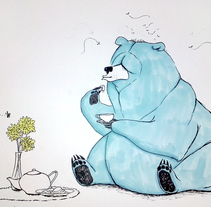 Blue bear sketch. A Illustration, and Character Design project by Heura Salinas Vilaseca         - 15.10.2014