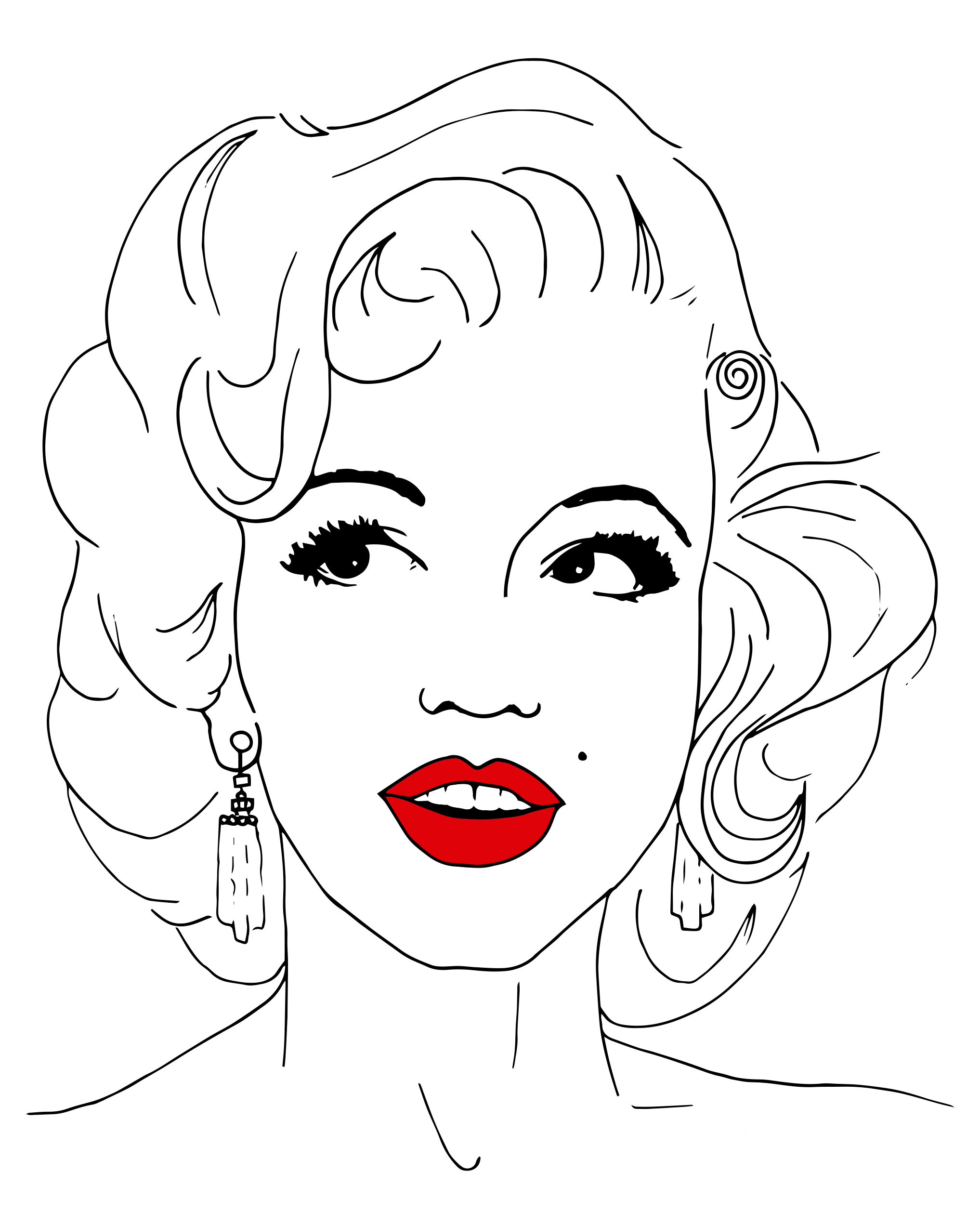 It is an image of Nerdy Marilyn Monroe Drawing Outline