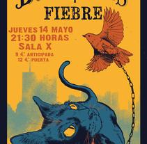 """Cartel para las bandas """"Las Buenas Noches"""" y """"Fiebre"""". A Illustration project by Arturo Salguero Callejas         - 27.04.2015"""