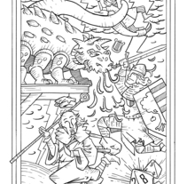"""Ilustración para el relato """"La Tarasca"""" (Incluido en el libro """"De Sirenas, Dragones y Fantasmas"""", Eds. Aristas Martínez y El Verano del Cohete). Um projeto de Ilustração de Alberto Peral Alcón - 28-05-2015"""
