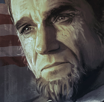 Lincoln - Daniel Day Lewis. A Illustration, and Painting project by miguel sastre - 07.09.2015