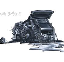 Camión de Basura RAVO 340.1. Pilot. A Design, Illustration, Automotive Design, Fine Art, and Painting project by BORCH         - 06.01.2016