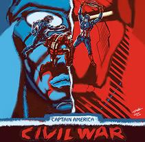 Captain America Civil War poster. Un proyecto de Ilustración, Cine, vídeo, televisión, Bellas Artes, Diseño gráfico, Comic y Cine de Gabriel Navarro Romero - 03-02-2016