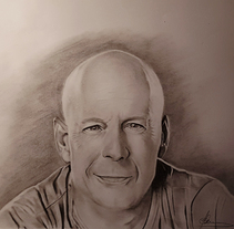 Dibujo a lápiz. Bruce Willis. A Design, Illustration, Fine Art, Graphic Design, and Painting project by Miguel Angel Lallana Figueroa - 14-02-2016