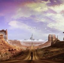 Matte Painting: Highway to Hell.. Um projeto de Design, Fotografia, 3D, Direção de arte, Design gráfico, Paisagismo e Colagem de David Sanz Soblechero         - 21.02.2016