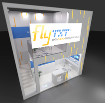 Diseño del stand para la empresa Fly Txt, para el MWC-2016. A Design, 3D, and Events project by Ferran Aguilera Mas         - 22.02.2016