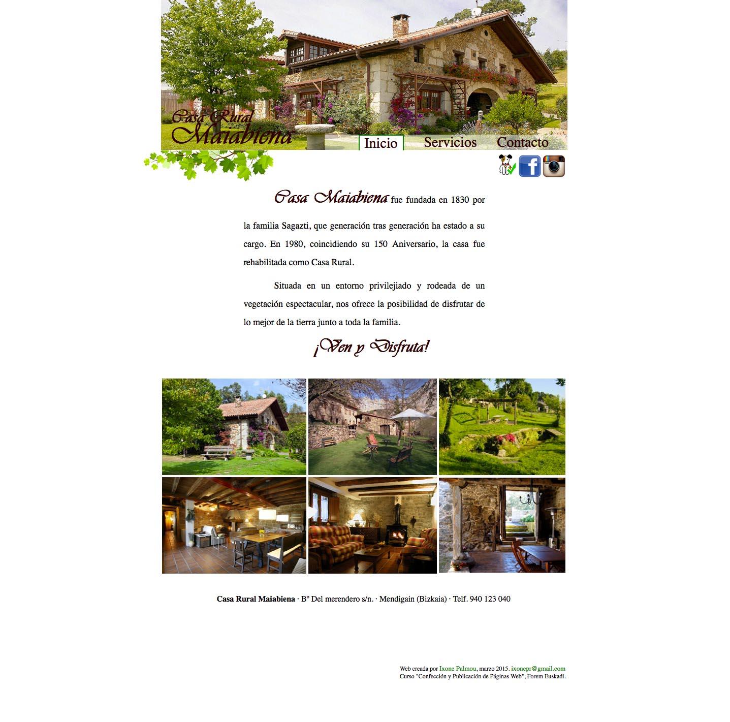 P gina web casa rural maiabiena domestika for Casa piscitelli pagina web
