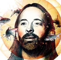 "Thom Yorke, retrato para mi curso ""Retrato ilustrado con Photoshop"". Un proyecto de Diseño e Ilustración de Oscar Giménez - 14-09-2016"