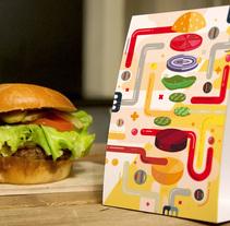 Receta ilustrada de una hamburguesa. Un proyecto de Ilustración, Dirección de arte, Cocina e Infografía de Erik Gonzalez - 26-09-2016