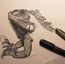 Iguana iguana. Um projeto de Ilustração e Artes plásticas de Arturo Blasco         - 08.05.2017