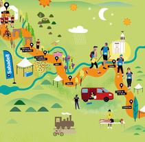 Oxfam Trailwalker Girona. Um projeto de Ilustração, Design gráfico e Ilustración vectorial de Aina Pongiluppi Gomila         - 23.03.2017