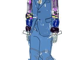 """Ilustración de MODA,  donde se presentan como estampas a los figurines"""" COMME des GARÇONS""""  temporada 16 H-M. Un proyecto de Diseño, Ilustración, Diseño editorial, Moda y Diseño gráfico de Gemma Ramírez - 14-05-2017"""