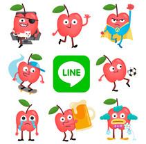 Mr. Apple Jr. - LINE stickers. Un proyecto de Ilustración, Diseño de personajes e Ilustración vectorial de Alejandro Milà - 04-06-2017