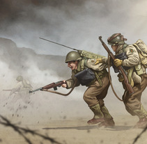 WW2 - D-Day, Omaha beach 1944. A Illustration project by Rubén Megido         - 19.06.2017