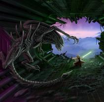 Alien Vs Yoda. Un proyecto de Ilustración de Luis Costales Ponga - 02-12-2016