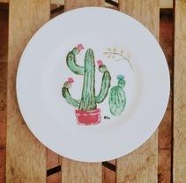 Cactus... vajilla ilustrada.. Un proyecto de Bellas Artes de Luciana Garcilazo - 07-11-2017