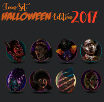 Halloween Icon Set 2017. A Illustration, Character Design, Graphic Design&Icon design project by CLAU CLAU         - 11.11.2017