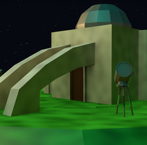 Observatorio Andacollo Collowara Low Poly . Un proyecto de 3D de Claudio Nuñez         - 08.12.2017