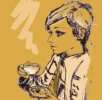 Twiggy drinking coffee. A Illustration project by Núria   Zapatero Sánchez         - 12.02.2018