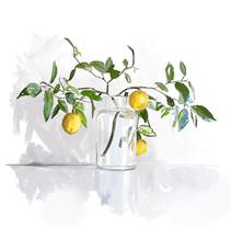 Vase with Yellow. Um projeto de Ilustração, Direção de arte e Pintura de Carlos Miralles         - 30.03.2018