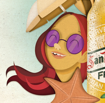 Ilustración publicitaria para San Miguel Fresca. A Design, Illustration, Br, ing, Identit, Fine Art, Graphic Design, Product Design, Collage, Comic, Street Art, Vector illustration, and Pictogram design project by SONIA DØGO Impulsive Design         - 01.04.2018