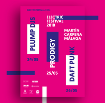 Carteles y merchandising para Electric Festival. A Editorial Design, Graphic Design, T, and pograph project by Guillermo Castañeda         - 20.04.2018